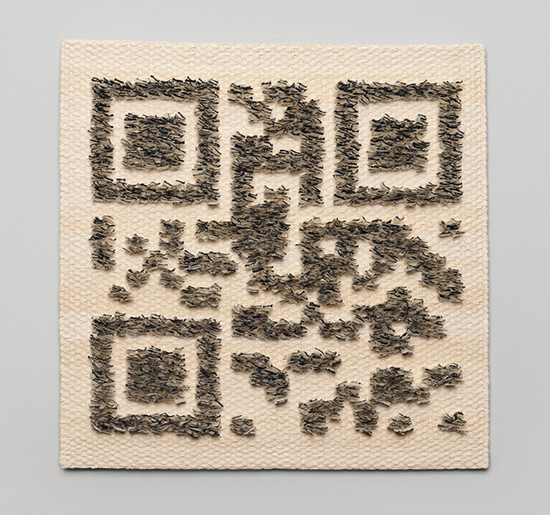 Eva Vargo Download me Korean paper cord, Korean old book paper, Japanese ink 48 x 48 cm, 2012