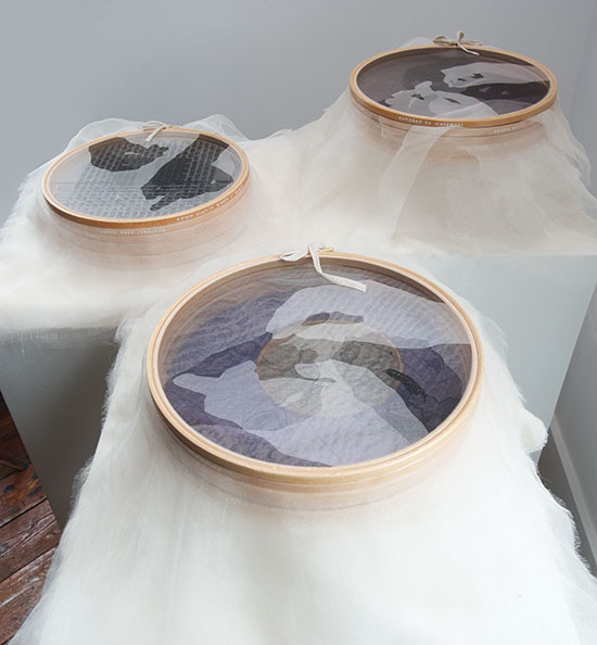 "Listening In, Caroline Bartlett, mixed media; wooden rings stretched with archival crepeline, wool, linen tape, perspex, 2.75"" x 17"" x 17""; 5"" x 17"" x 17""; 6"" x 17"" x 17"", 2011, photo by tom Grotta"