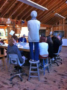 Hisako Sekijima Lecturing her class at Haystack, photo by Meghan Price