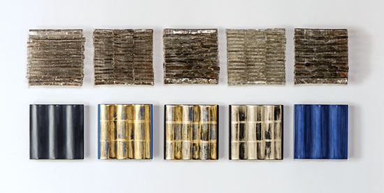 "Glow & Glitter, Agneta Hobin, mica, steel mesh, 8"" x 8"" each, 2014; Alchemia, Agneta Hobin, gilded gold-leaf wooden reliefs, 8"" x 8"" each, 2014, photo by Tom Grotta"