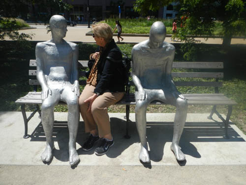 Sculptures by Steinunn Thórarinsdóttir of Iceland in Grant Park, photo by Tom Grotta
