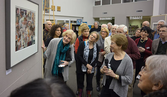 Norma Minkowitz artist talk at Drawn to the Edge reception at the Westport Library. Photo by Tom Grotta