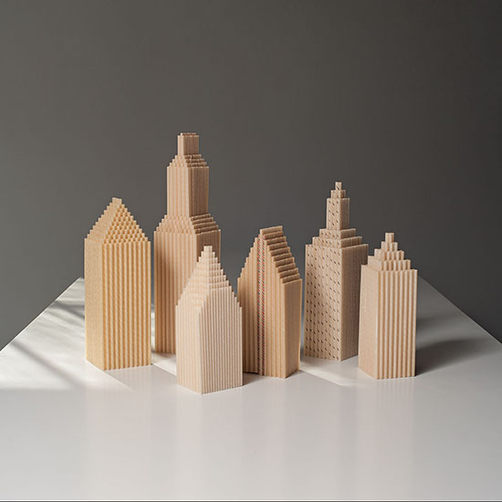 "Karyl Sisson, Straw Skyline vintage paper drinking straws and polymer, 14.375"" x 32.5"" x 3""; 2013, Tom Grotta"