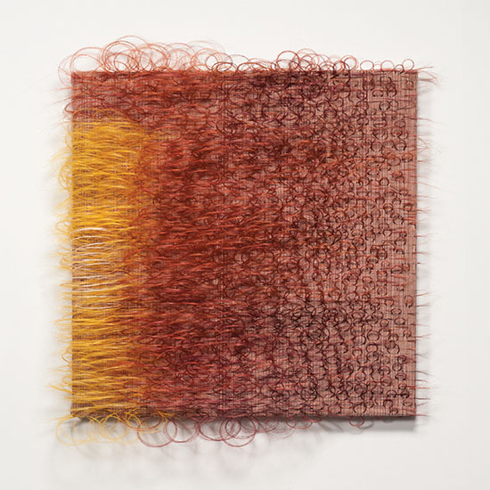 "Marianne Kemp Raggiana cotton, linen with coloured horsehair 28"" x 28"" x 3"" 2014 photo by tom Grotta"