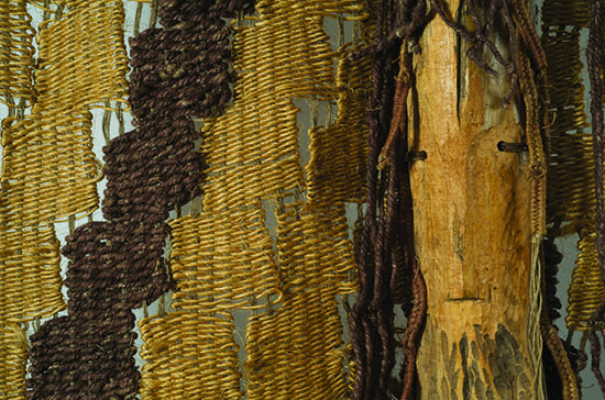 "Detail of Maria Laskiewicz, MASK, woo1, sisal ,wood sculpture, 72"" x 53"", 1968, photo by tom Grotta"