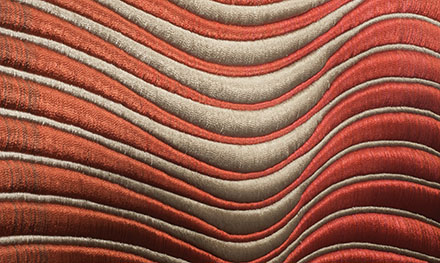 "Detail of Lia Cooks TRANSLUCENCE rayon, 56"" x 40"", 1978, photo by Tom Grotta"