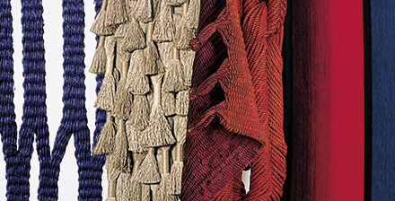 Details of works by Lenore Tawney, Sheila Hicks, Françoise Grossen and Mariette-Rousseau-Vermette