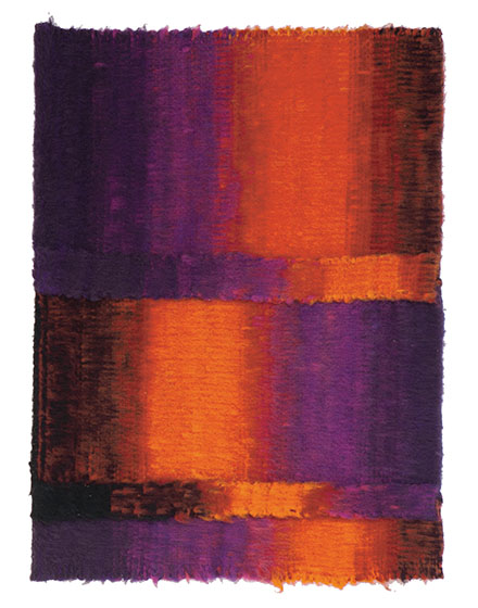 "146mr Eclate de Braise, Mariette Rousseau-Vermette, wool, 33"" x 24"", 1966, photo by Tom Grotta"