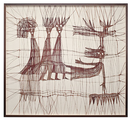"2lk Primitive Figures Bird and insects, Luba Krejci, knotted linen, 40.5"" x 44.5"" x 2"", circa 1970s, photo by Tom grotta"
