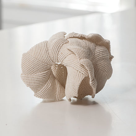 "6fl Earth White Shell n.2, Federica Luzzi, linen cord, 4"" x 5"" x 6"", 2015, photo by Tom Grotta"