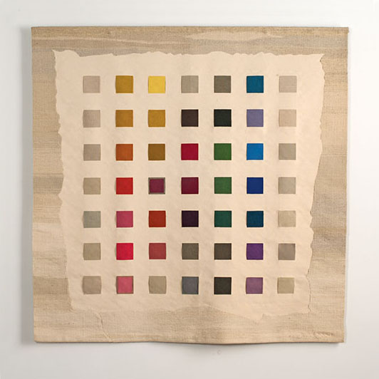 22sh/r Color Alphabet Tapestry by Sheila Hicks, wool, silk, 6' x 6', 1982. Photo by Tom Grotta