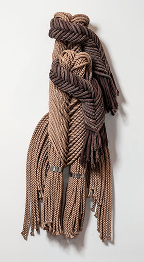 "FROM THE MERMAID SERIES IV, Francoise Grossen, poly, metal, paper, braided, 16"" x 72"" x 72"""