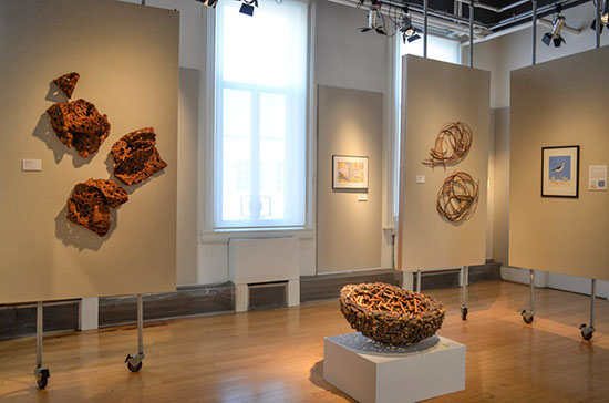 From the Ground Up: ART inspired by Nature installation, Hisako Sekimachi, Gyöngy Laky, Jane Balsgaard, Photo by tom Grotta