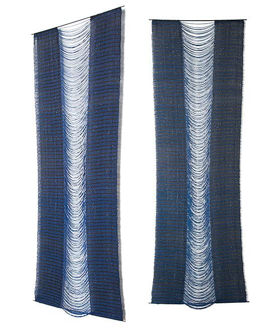 """1cy AZUL Y NEGR Carolina Yrarrázaval rayon, cotton 116"""" x 40.5"""", 2003"""