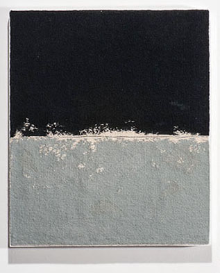 "GRAY WITH BLACK, Sara Brenan, wool & silks linen, 12.5"" x 19"", $1,900 photo by Tom Grotta"