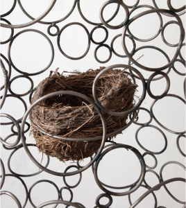 Paul Villinski, Self-Portrait (Detail), 2014, Steel, birds nest, 68 x 20 x 8 inches Courtesy of the artist and Morgan Lehman Gallery, New York