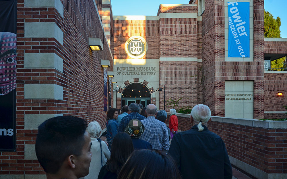Crowds lining up for the opening reception of The Box Project at the Fowler Museum. Photo by Tom Grotta