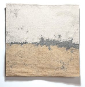 "Linen Tapestry with Broken Grey Line by Sara Brennan, linen, wool, and cotton, 42.5"" x 42"", 2014"