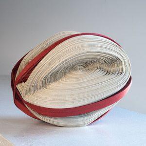 """Red/White Revolving, Noriko Takamiya, paper constructions, 6"""" x 7"""" x 6"""", 2010"""