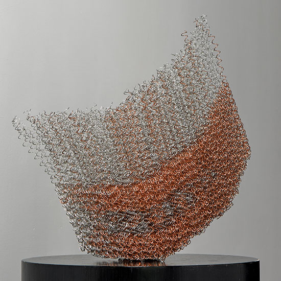 "Fuhkyoh Tsuruko Tanikawa, linked copper, 17"" x 16"" x 6.5"", 2002, stainless steel wire"