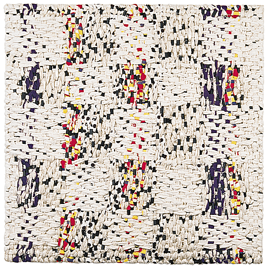 "Damask Waterfall, Ed Rossbach, cotton welting cord, commercial fabric, plastic, satin damask, wrapped, 36"" x 36"", 1977"