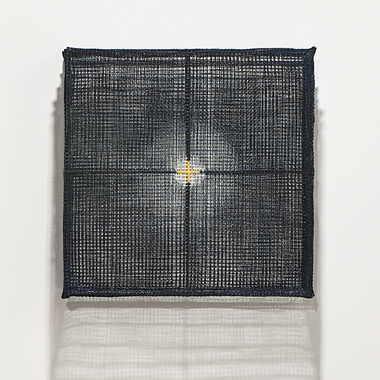 "Matrix III-201612, Chang Yeonsoon, polyester mesh, machine sewn, 14"" x 14"" x 4.75"", 2017"