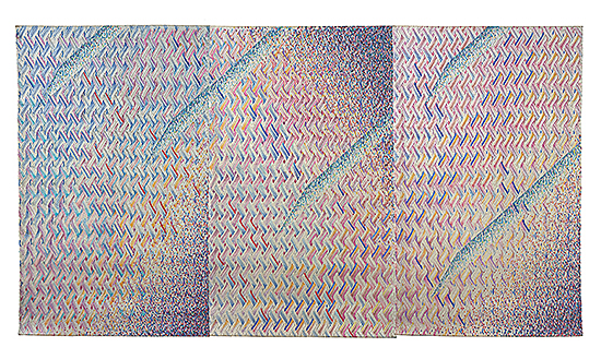 "Pressed Variation Series, Lia Cook, rayon, painted and pressed, 68"" x 122"", 1981"