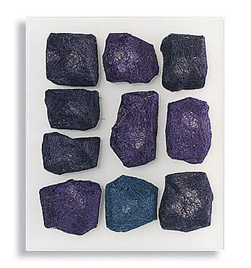 "Traces 3 Relief, Mia Olsson, sisal and coconut fibers on blastered acrylic glass, 14"" x 11.875"" x 1.25"", 36 x 30cm, 2006"