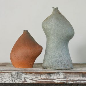 "<em>Ceramic 49</em>, Yasuhisa Kohyama, wood-kiln ceramic, 11.25"" x 11"" x 6""<br /> <em>Ceramic 50,</em> Yasuhisa Kohyama, wood-kiln ceramic, 18.25"" x 10"" x 5"" Photo by Tom Grotta"