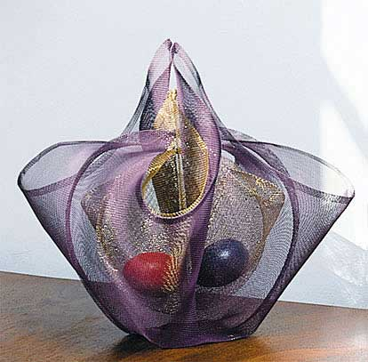 "PURPLE & GOLD EGG BASKET Chunghi Choo wire mesh 12"" x 12"" x 10"" 1993"