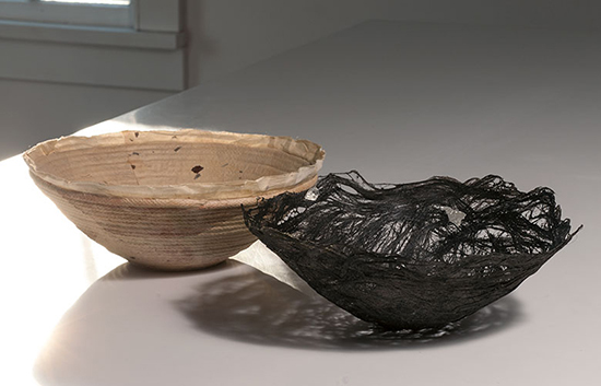 "Untitled, Kay Sekimachi, Japanese paper and fiber flex, 4"" x 11"" x 11"", 1985 95k Silver Metallic, Kay Sekimachi, flax, 4"" x 11"" x 11"", 2008. Photo by Tom Grotta"