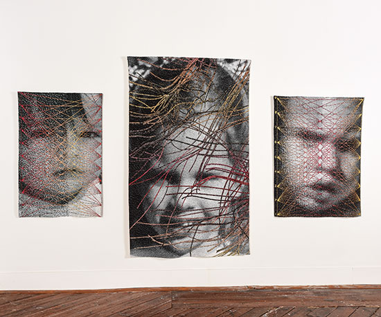 "Intensity Tera Data woven cotton and rayon 50.5"" x 332"", 2014 23lc Neural Networks woven cotton and rayon 81"" x 51"", 2011 27lc Intensity Su Data Encore woven cotton and rayon 52"" x 40"", 2014"