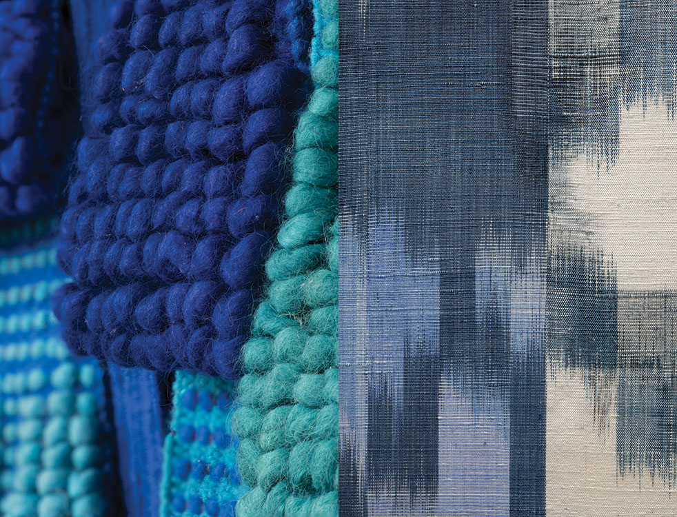 Details of Totem aux Millefleurs Bleues by Micheline Beauchemin and Synapse by Polly Barton