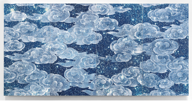 Ala Ebtekar, Zenith V, 2014, acrylic over cyanotype on canvas, four panels 60 1/4 x 30 1/4 in. each. © Ala Ebtekar. Courtesy of the artist and The Third Line, Dubai.