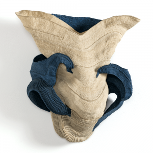"Blue Wave, Ferne Jacobs, coiled and twined waxed linen thread, 19"" x 17.5"" x 6"", 1994. Photo by Tom Grotta."
