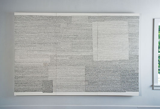 "Calculus, Sue Lawty, natural stones on gesso, 78.75"" x 118"", 2010"