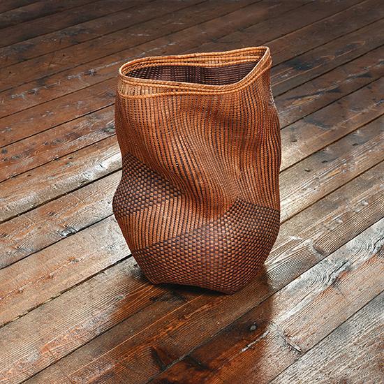 """Shady Lane Polly Adams Sutton western red cedar bark, dyed ash, wire, cane 16"""" x 12"""" x 9"""", 2006"""