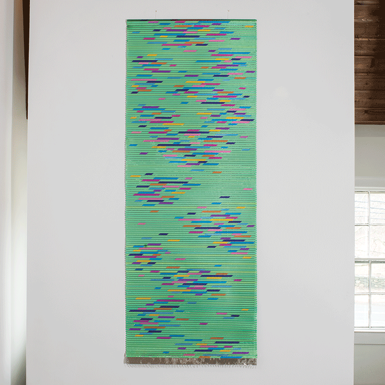 "Blue/Green as a Metaphor, Kyoko Kumai, titanium and steel, 120.5"" x 45.25"", 2010"