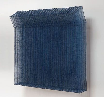 "Matrix II-201011, Chang Yeonsoon, indigo dyed abaca fiber, 26.75"" x 26.5 ""x 10"", 2010. Photo by Tom Grotta"