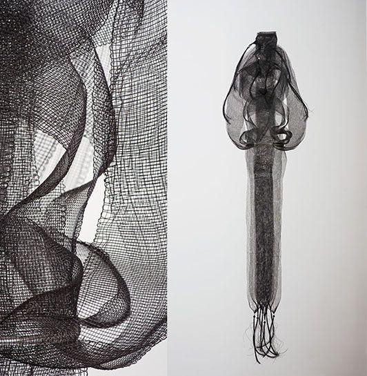"Untitled, monofilament, Kay Sekimachi, monofilament, 57"" x 14"" x 14"", circa mid-70's"