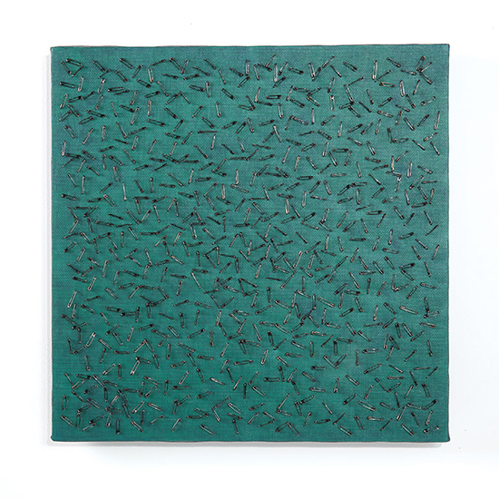 "Green Blue Screen One, Tamiko Kawata, cardboard, safety pins, acrylic on canvas, 20"" x 20"", 2018. Photo by Tom Grotta."