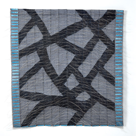 "Markings and Blues, Adela Akers, linen, horsehair, metal and paint, 28"" X 30"", 2018. Photo by Tom Grotta."
