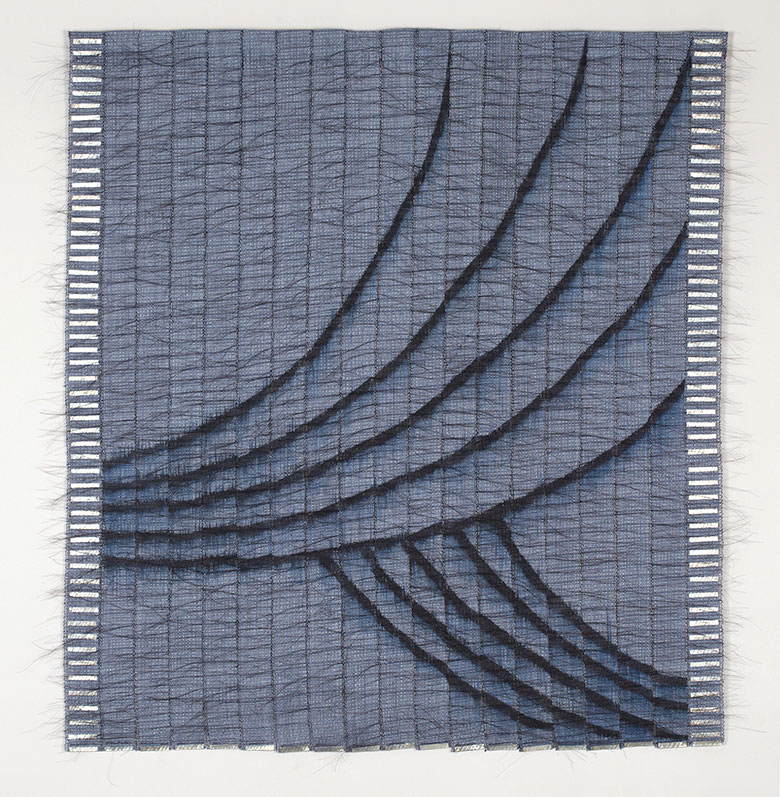 "Night Curtain, linen, horsehair, paint & metal, 38"" x 36"", 2018"