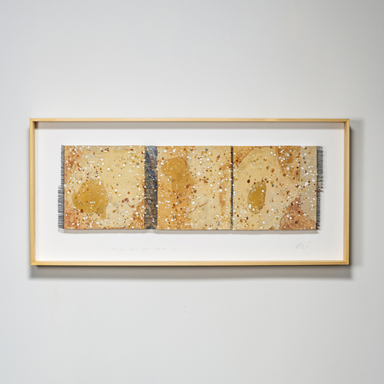 "Chiyoko Tanaka 68cht Mud-Dyed Cloth - Ocher. White Mud Dots, handwoven ramie, mud-dyed rubbed with stone and mud dots, 21.375"" x 46.5"" x 3,"" 2018 photo by Tom Grotta"