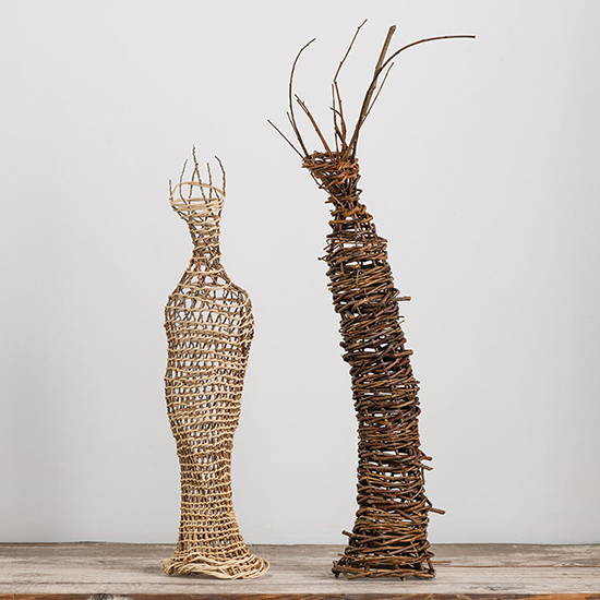 "Dawn MacNutt 35dm Praise South inflorescence and reed, 19.5"" x 5.5"" x 3.5,"" 2007   47dm Praise North willow, 24.75""x 13""x 5.5,"" 2018"
