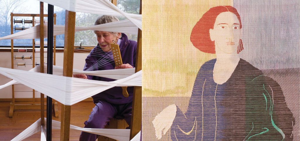 Ethel Stein Master Weaver at the Chicago Art Institute 2015. Photo by Tom Grotta