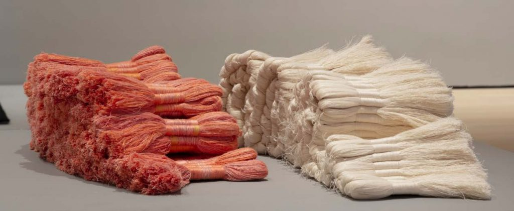 linen sculpture by Sheila Hicks titled Cartridges and Zapata 1962–1965