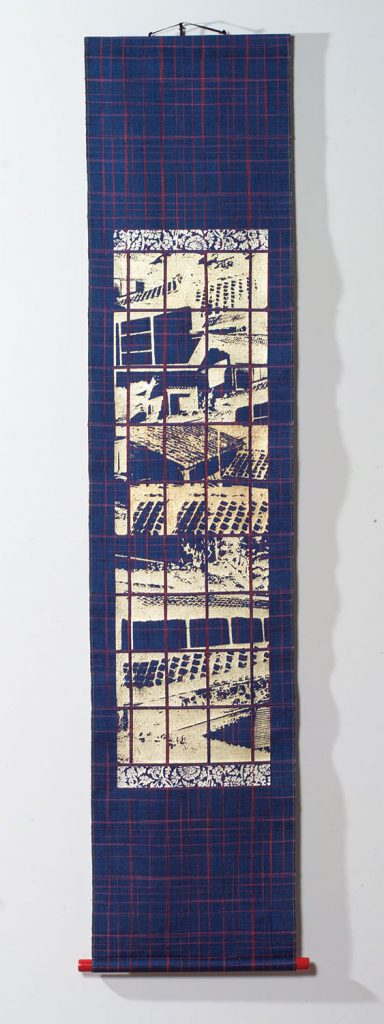 "32gk SHIMOGAMO SCROLLS: STUDIO VIEW II, Glen Kaufman photo collage, screen print and impressed silver leaf on handwoven kasuri silk, 70"" x 17"", 2002"