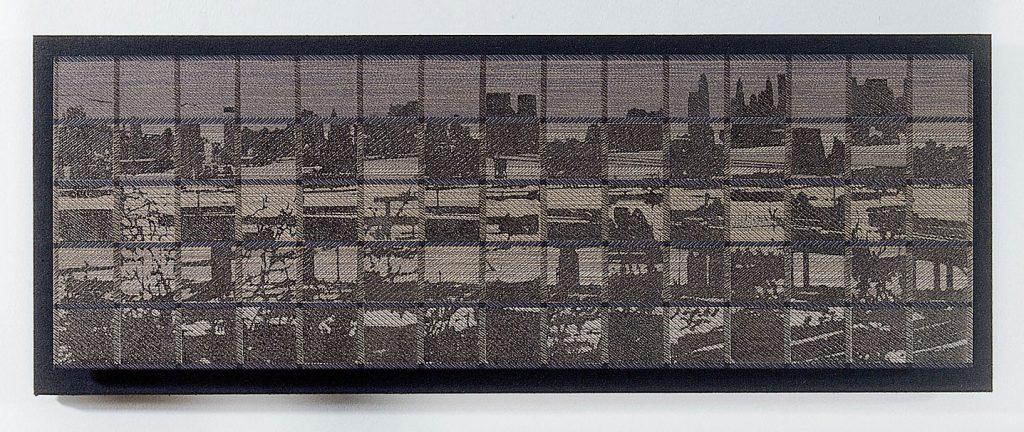 "anhattan/New Jersey View Glen Kaufman, handwoven silk twill, silver leaf; screenprint, impressed metal leaf, 10"" x 30"" x 1"", 1997"