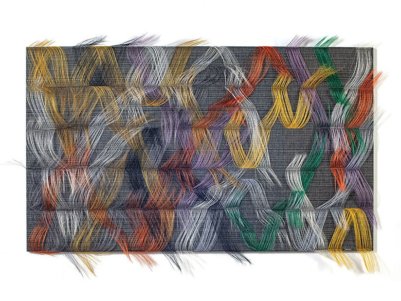 "Marianne Kemp, Vibrant Conversation, horsehair, cotton, linen, 49"" x 70"" x 6 "", 2018"